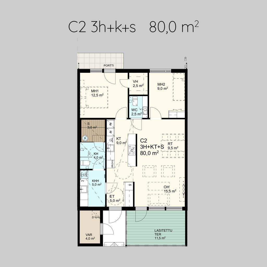 C2 3h+k+s 80,0m²