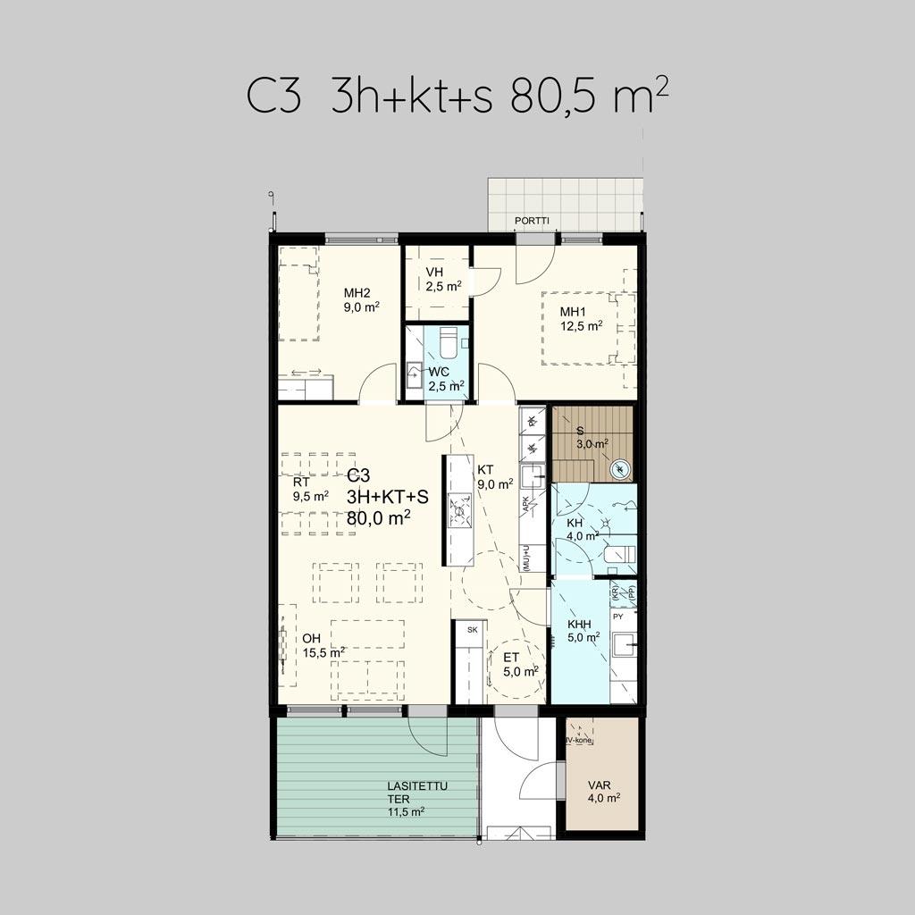 C3 3h+k+s 80,5m²
